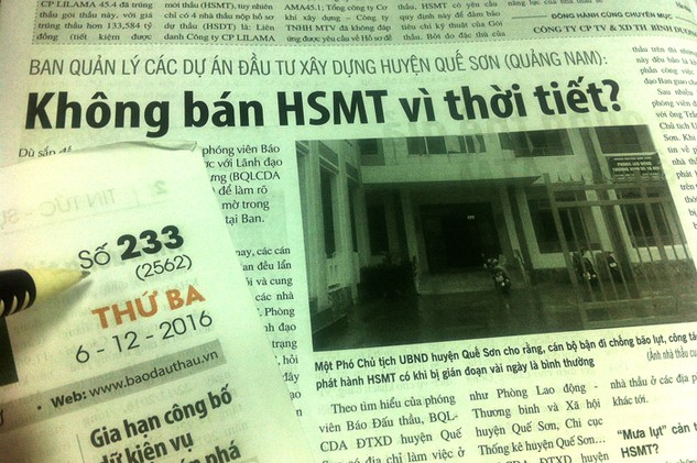 Sự việc Ban Quản lý các dự án đầu tư xây dựng huyện Quế Sơn không bán HSMT cho nhà thầu đã được Báo Đấu thầu phản ánh. Ảnh: Nhã Chi