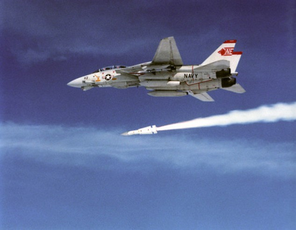 Tiêm kích F-14 tham gia bài huấn luyện bắn đạn thật. Ảnh: Wikipedia.