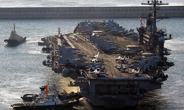 Tàu sân bay Carl Vinson của Mỹ. Ảnh:AFP