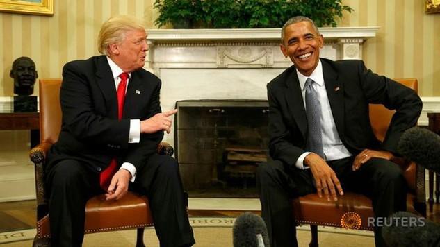 Tổng thống Mỹ Barack Obama và Tổng thống đắc cử Donald Trump trong một cuộc trò chuyện đầu tiên tại Nhà Trắng. (Ảnh: Reuters)