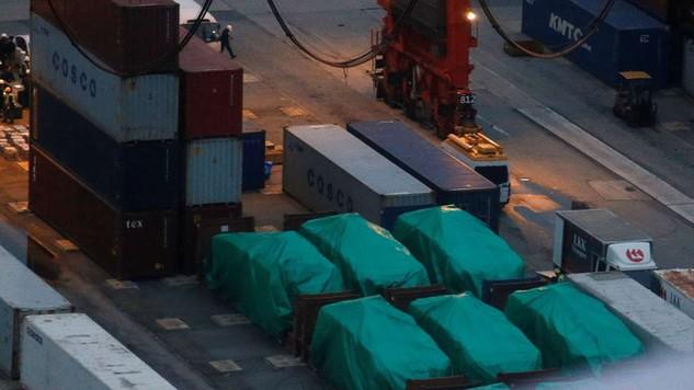 Các xe bọc thép của Singapore bị tạm giữ tại Hong Kong từ cuối tháng 11/2016. (Ảnh: Reuters)