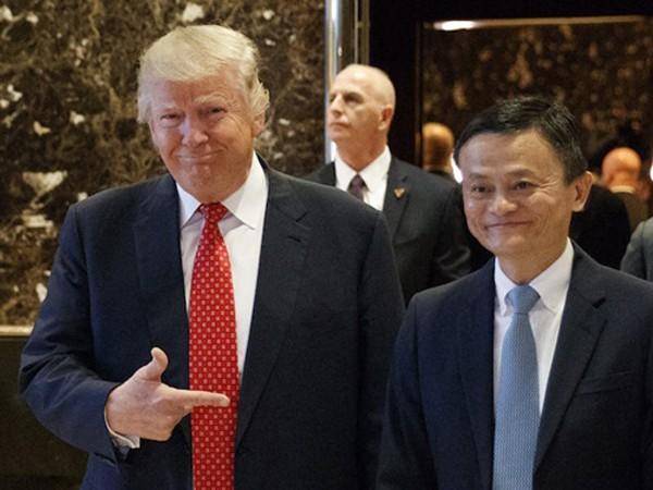 Donald Trump và Jack Ma trong cuộc gặp hôm qua. Ảnh:AP