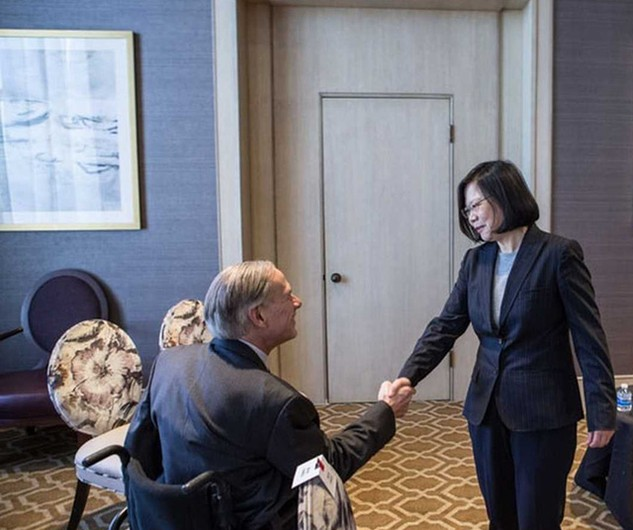 Thống đốc bang Texas Greg Abbott gặp lãnh đạo Đài Loan Thái Anh Văn (Ảnh: Văn phòng Thống đốc Abbott)