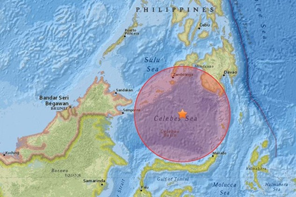 Vị trí tâm chấn trận động đất mạnh 7,3 độ Richter. Đồ họa:USGS