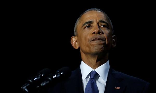 Tổng thống Obama khi phát biểu chia tay tại Chicago. Ảnh:Reuters