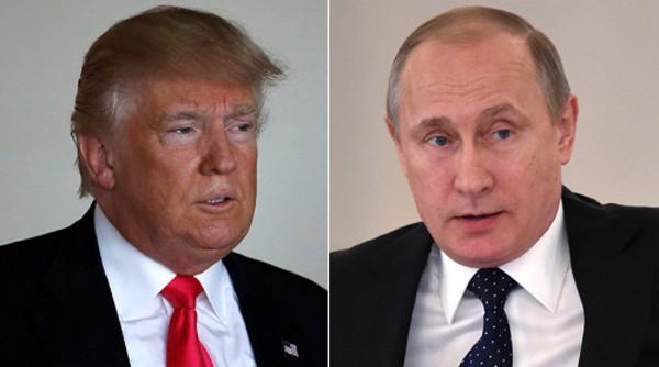 Tổng thống Mỹ Donald Trump và người đồng cấp Nga Vladimir Putin. Ảnh:AP