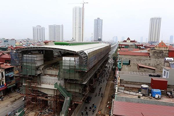 Tuyến đường sắt đô thị Cát Linh - Hà Đông đã hoàn thiện 90% khối lượng công việc. Ảnh:Bá Đô
