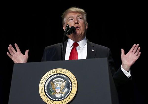 Tổng thống Trump phát biểu trong sự kiện hôm nay ở Washington. Ảnh:Reuters