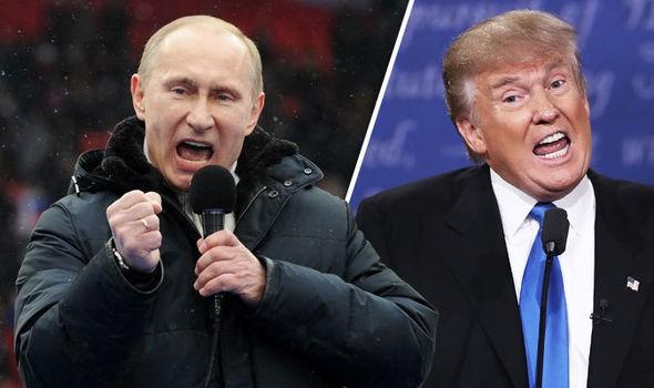 Tổng thống Nga Vladimir Putin (trái) và người đồng cấp Mỹ Donald Trump (Ảnh: Express)