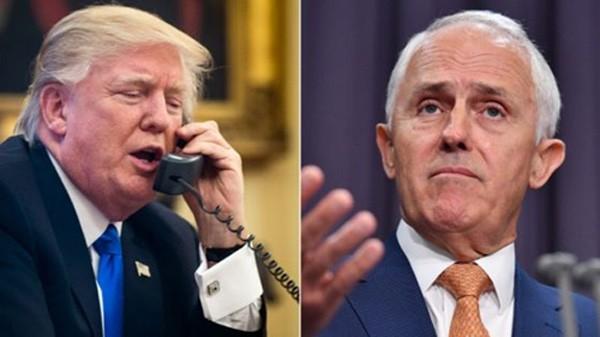 Tổng thống Mỹ Donald Trump (trái) và Thủ tướng Australia Malcolm Turnbull. Ảnh:BBC