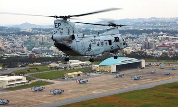 Trực thăng Mỹ ở căn cứ tại Futenma. Ảnh:US Marine Corps