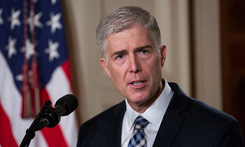 Ông Gorsuch được Tổng thống Mỹ chọn làm thẩm phán toà tối cao Mỹ. Ảnh:Newscom
