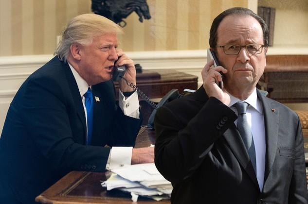 Tổng thống Mỹ Donald Trump (trái) và người đồng cấp Pháp Francois Hollande (Ảnh: Getty)
