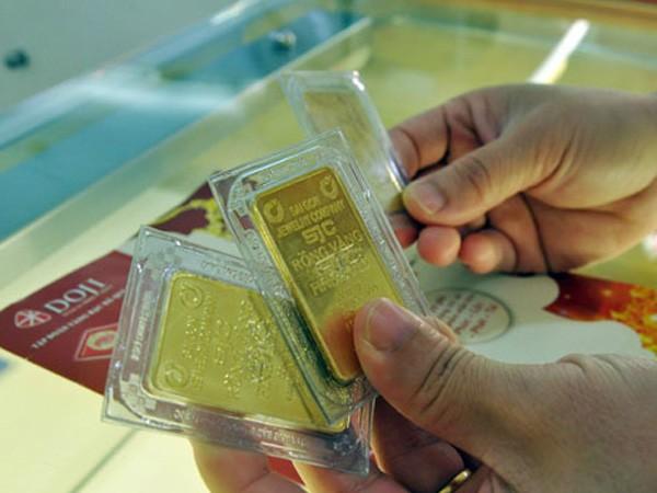 Giá vàng SJC sụt mạnh theo diễn biến thế giớisáng nay. Ảnh:P.V