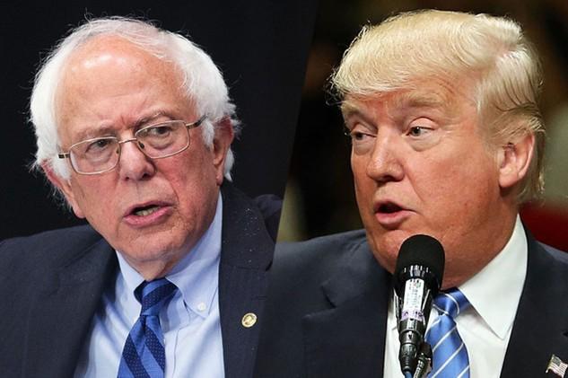 Thượng nghị sĩ Bernie Sanders (phải) và Tổng thống Donald Trump (Ảnh: NY Magazine)