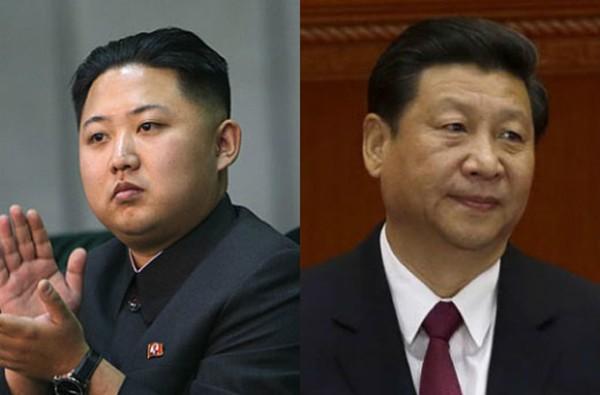 Chủ tịch Trung Quốc Tập Cận Bình (phải) và lãnh đạo Triều Tiên Kim Jong-un. Ảnh:pressian