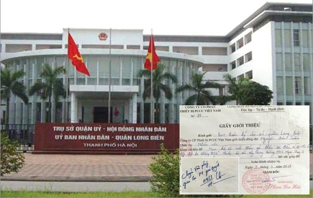 """Trưởng Ban QLDA quận Long Biên ghi trên giấy giới thiệu của nhà thầu là """"chuyển Văn phòng giao lại P1 giải quyết"""" nhưng không có đơn vị nào của Ban bán HSMT cho nhà thầu. Ảnh: Vân Thanh"""
