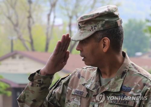 Tướng Vincent K. Brooks, tư lệnh lực lượng Mỹ tại Hàn Quốc, trong một sự kiện hôm nay. Ảnh:Yonhap