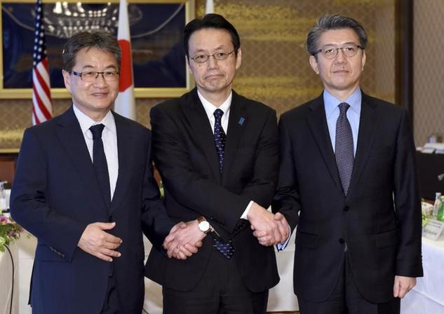 Các nhà đàm phán của Mỹ, Nhật và Hàn Quốc nhóm họp tại Tokyo ngày 25/4 (Ảnh: AP)