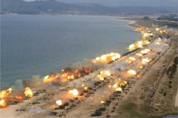 Cuộc tập trận pháo binh ngày 25/4 của Triều Tiên. (Ảnh: Rodong Sinmun)