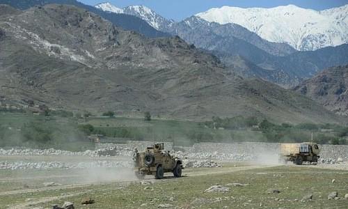 Đoàn xe tuần tra của Mỹ tại tỉnh Nangarhar. Ảnh:AFP.