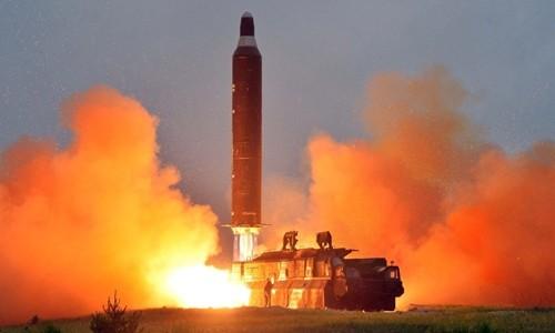 Một vụ phóng thử tên lửa của Triều Tiên. Ảnh: KCNA