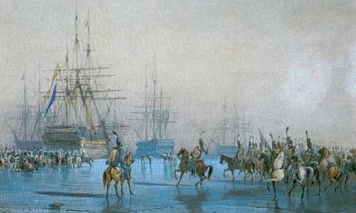 Đơn vị kỵ binh Pháp bao vây hạm đội Hà Lan. Ảnh:War History.