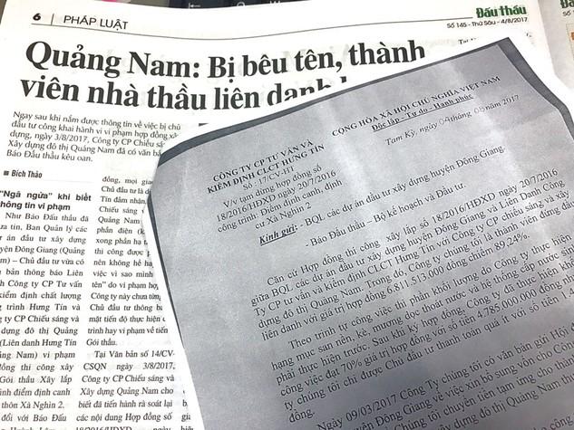 Ban Quản lý các dự án ĐTXD huyện Đông Giang (Quảng Nam) đã có văn bản đính chính, rút tên Công ty CP Chiếu sáng và Xây dựng đô thị Quảng Nam ra khỏi danh sách nhà thầu vi phạm. Ảnh: Nhã Chi
