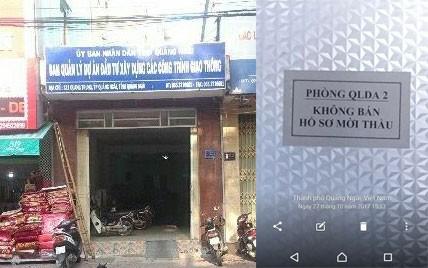 """Hình ảnh nhà thầu chụp có ghi dòng chữ """"Không bán hồ sơ mời thầu"""" bên trong trụ sở Ban Quản lý dự án đầu tư xây dựng các công trình giao thông tỉnh Quảng Ngãi (Ảnh do nhà thầu cung cấp)"""