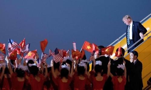 Tổng thống Mỹ - Donald Trump tới Hà Nội cuối tuần trước. Ảnh:AFP
