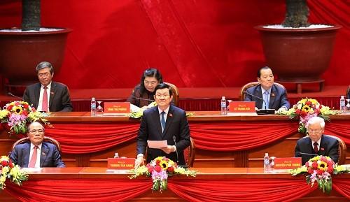 Đồng chí Trương Tấn Sang, Ủy viên Bộ Chính trị, Chủ tịch nước thay mặt Đoàn Chủ tịch điều hành phiên họp chiều 22/1.
