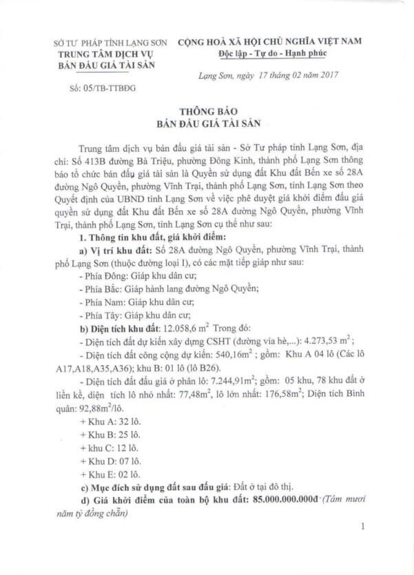 Đấu giá quyền sử dụng đất tại TP Lạng Sơn, tỉnh Lạng Sơn - ảnh 1
