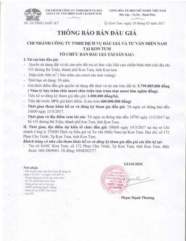 Đấu  giá Quyền sử dụng đất tại thành phố Kon Tum, tỉnh Kon Tum - ảnh 1
