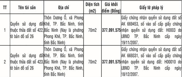 Đấu giá Quyền sử dụng đất tại TP. Bắc Ninh (Bắc Ninh) - ảnh 1