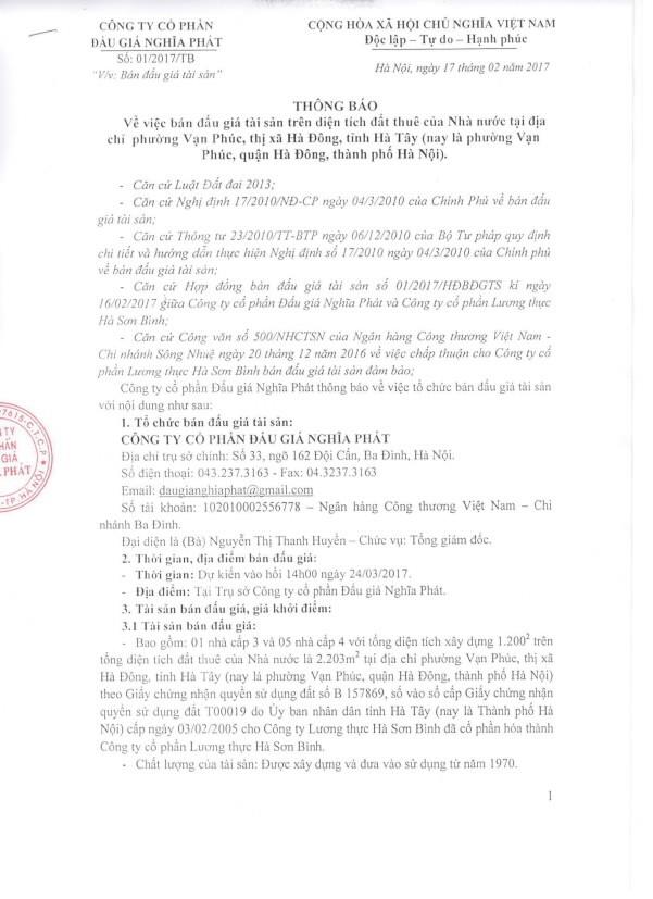 Đấu giá tài sản trên diện tích đất thuê nhà nước tại Hà Đông, Hà Nội - ảnh 1
