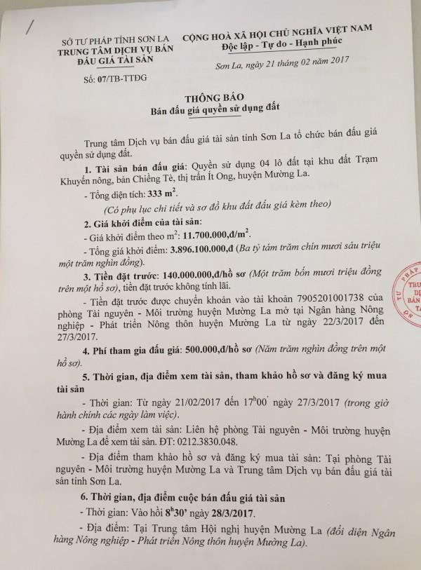 Đấu giá quyền sử dụng đất tại huyện Mường La (Sơn La) - ảnh 1