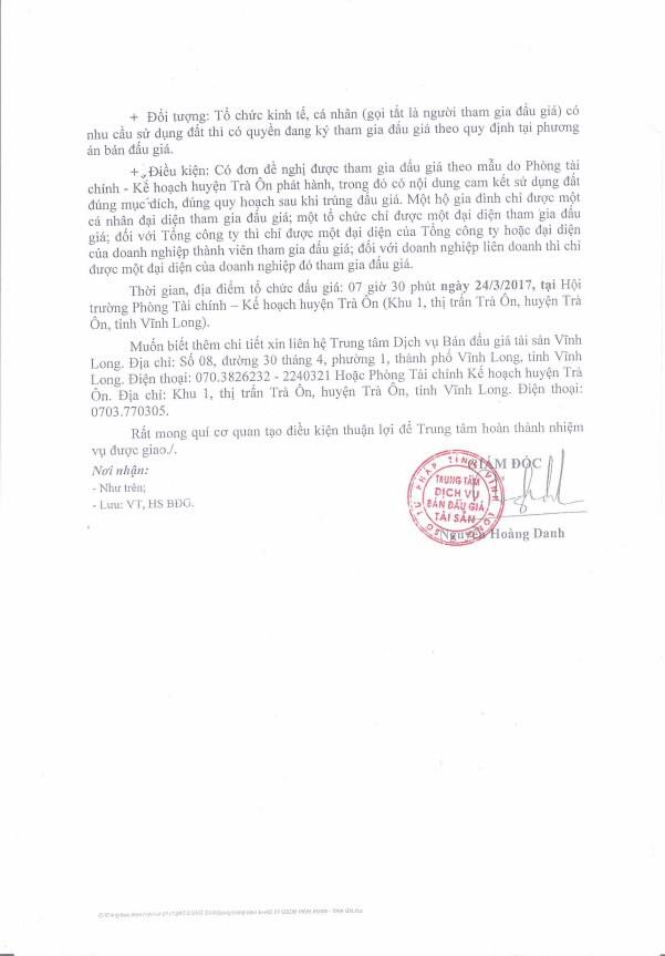 Đấu giá quyền sử dụng đất tại huyện Trà Ôn (Vĩnh Long) - ảnh 2