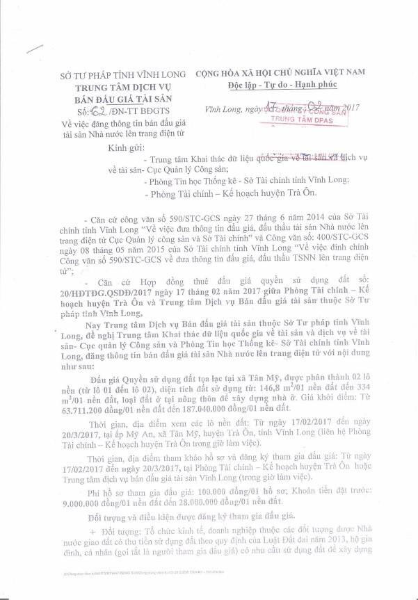 Đấu giá quyền sử dụng đất tại huyện Trà Ôn (Vĩnh Long) - ảnh 1