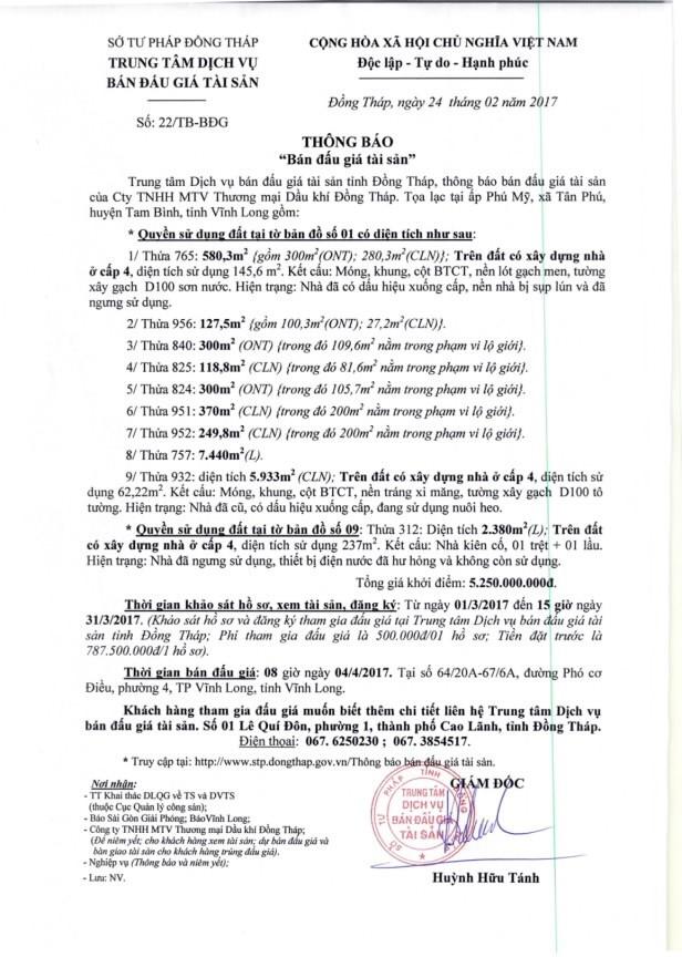 Đấu giá quyền sử dụng đất tại huyện Tam Bình, Vĩnh Long - ảnh 1