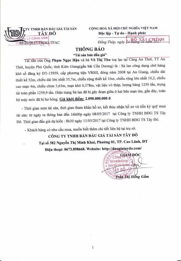 Đấu giá sà lan công dụng chở hàng khô tại huyện Phú Quốc, Kiên Giang - ảnh 1