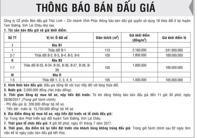 Đấu giá quyền sử dụng đất ở tại huyện Tam Đường, Lai Châu - ảnh 1