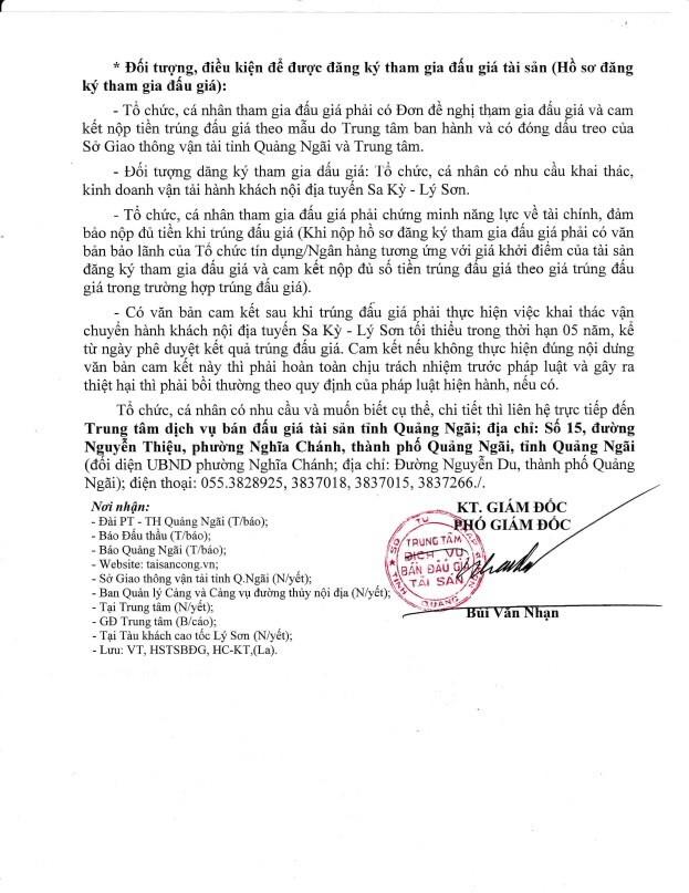 Đấu giá Tàu khách cao tốc tại Quảng Ngãi - ảnh 2