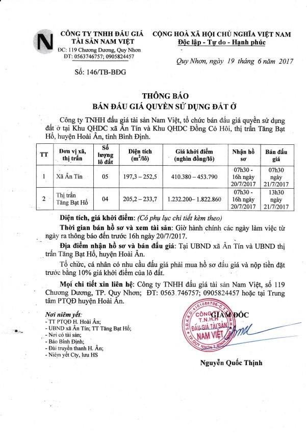 Đấu giá quyền sử dụng đất tại huyện Hoài Ân, Bình Định - ảnh 1