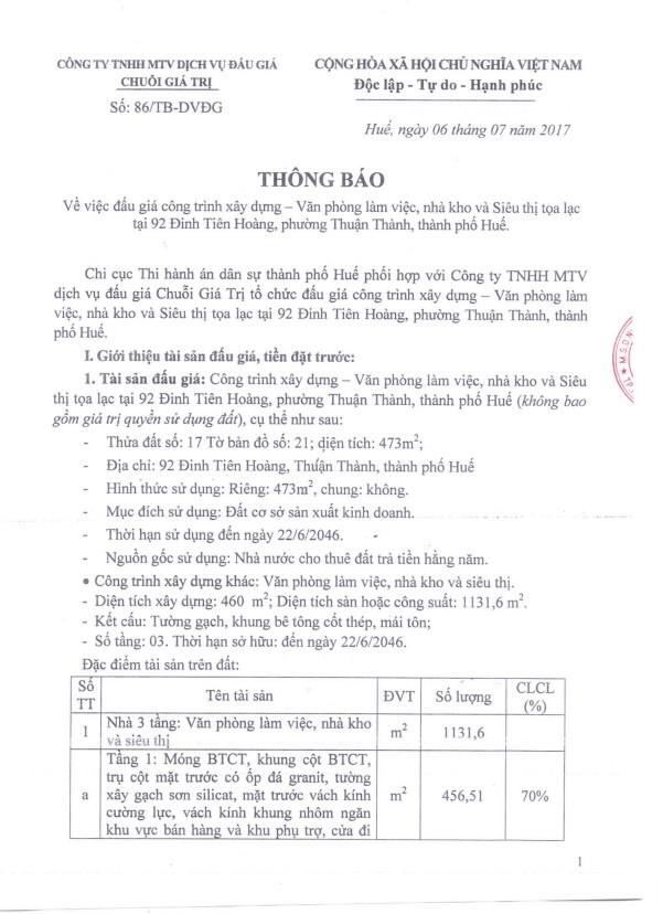 Đấu giá quyền sử dụng đất tại TP.Huế, Thừa Thiên Huế - ảnh 1