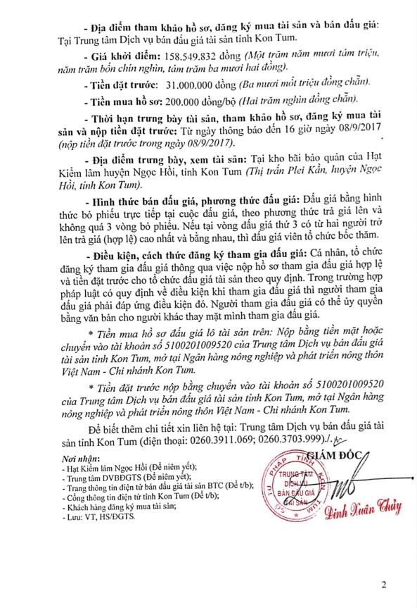 Đấu giá gỗ xẻ nhóm IIa, III, IV tại TP.Kon Tum, Kon Tum - ảnh 2
