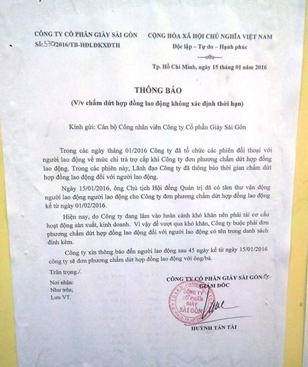 CTCP Giày Sài Gòn: Gần 600 công nhân mất việc sát Tết - ảnh 1