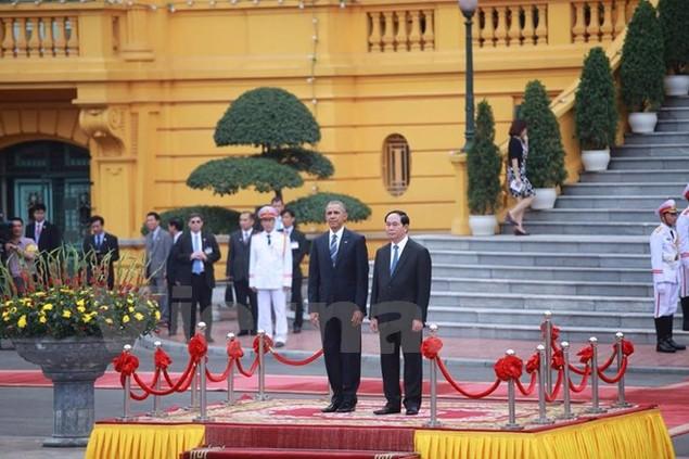 Cận cảnh lễ đón Tổng thống Hoa Kỳ Obama tại Phủ Chủ tịch - ảnh 1