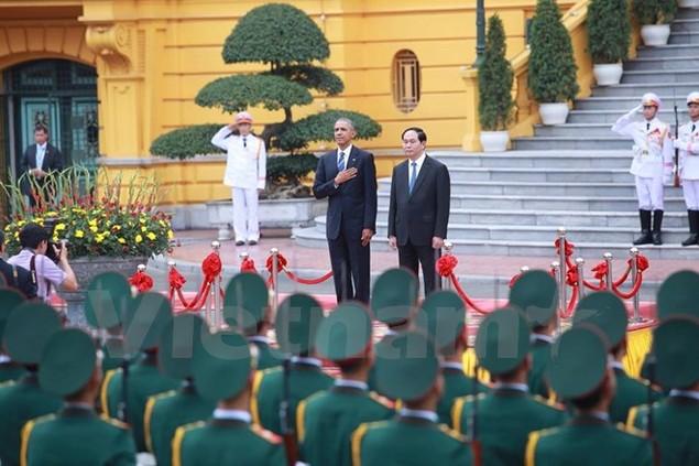 Cận cảnh lễ đón Tổng thống Hoa Kỳ Obama tại Phủ Chủ tịch - ảnh 4
