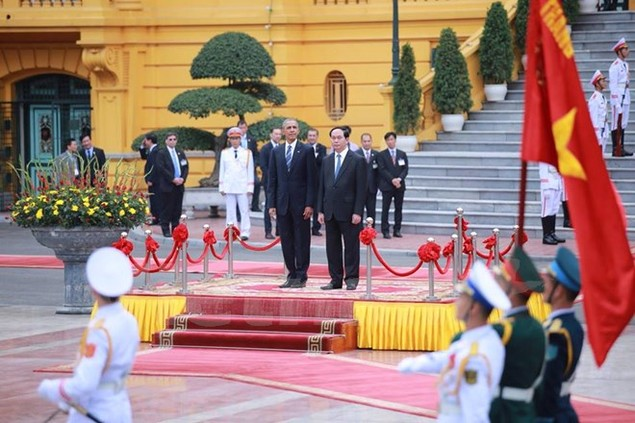 Cận cảnh lễ đón Tổng thống Hoa Kỳ Obama tại Phủ Chủ tịch - ảnh 10