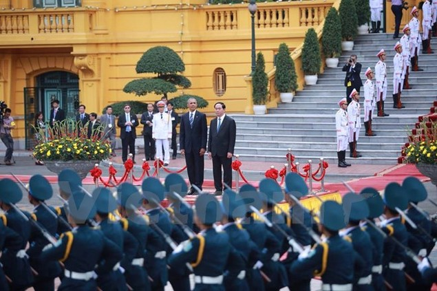 Cận cảnh lễ đón Tổng thống Hoa Kỳ Obama tại Phủ Chủ tịch - ảnh 13